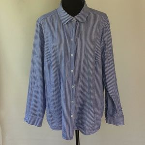 Blue and white striped Woman's button up